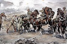 Battle of Colenso, 15 December, 1899.  Attempting to relieve the siege of Ladysmith, Sir Redvers Buller  tried to cross the Tugela River at the town of Colenso, Natal. Lacking competent staff officers and good battlefield intelligence, Buller's sizable force was soundly defeated by a much smaller Boer force. Four officers won Victoria Crosses for trying to rescue guns of the royal field artillery that had been cut off by Boer rifle fire.