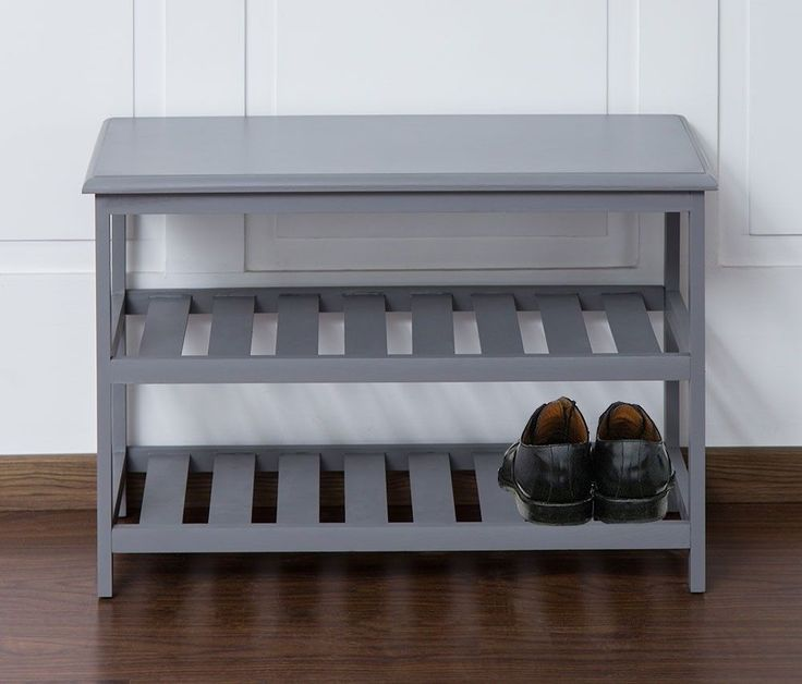 shoe storage unit bench grey wooden hallway utility seating