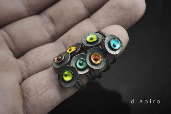 Silver enamel Ring Oxidized Sterling Silver Minimal