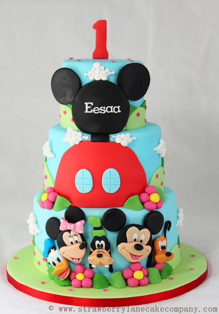 Mickey Mouse Club House 1st Birthday Cake. doing Chances 1st birthday Mickey mouse clubhouse and I like the bottom of the cake.