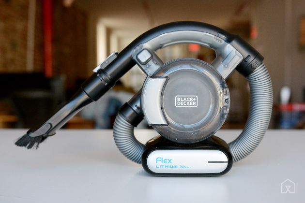 The Best Handheld Vacuum | The Black+Decker MAX Lithium Flex Vacuum BDH2020FLFH is the most versatile hand vac out there, thanks to a 4-foot flexible hose that reaches spots others can't and a powerful battery that lasts 16 minutes per charge—longer than most of the competition.