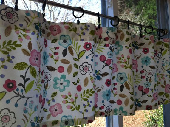 Window Valance 50 Wide X 16 Long Pink Aqua Floral Print Ready To Ship