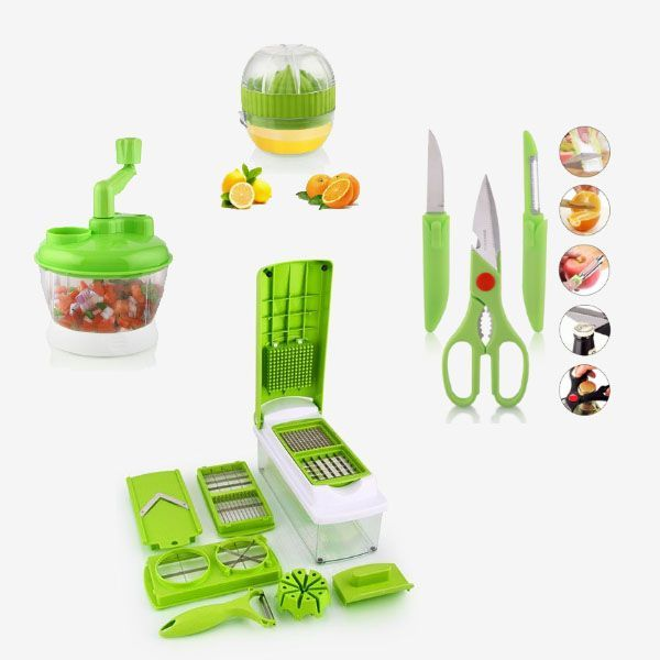[Bundle Offer] 3in1 Knife Set + Multi Functional Cutter + Lemon Matic Juicer + 7 Set Nicer and Dicer