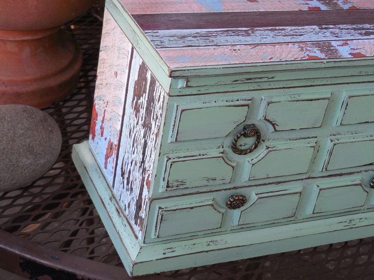 Hand painted Vintage Mint Green Dresser Style Jewelry Box with Distressed Barn Wood in Shabby Chic Style