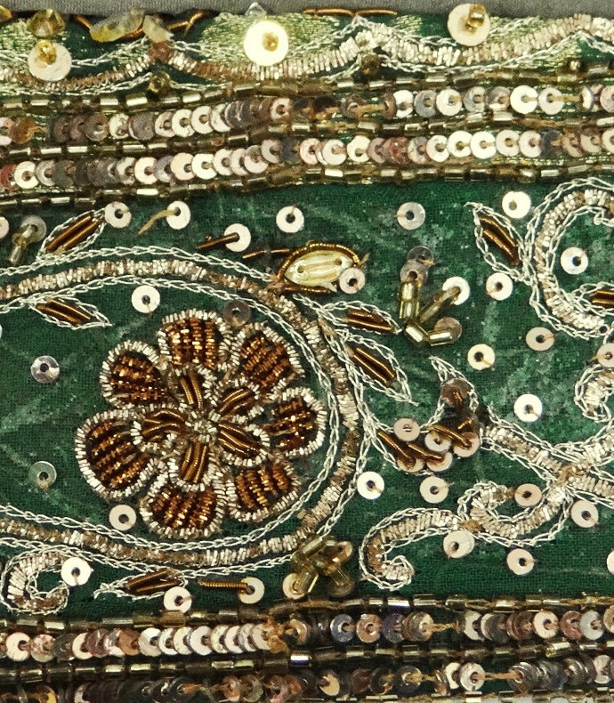 Antique Vintage Sari Border, embroidered with metalic threads, sequins and beads.