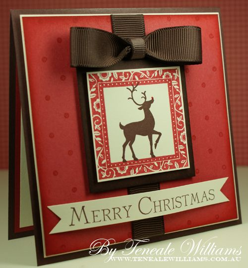 Brown & red: Cards Ideas, Beautiful Cards, Brown Reindeer, Cards Christmas, Christmas Cards Reindeer, Winter Cards, Reindeer Cards, Holidays Cards, Christmas Cards With Reindeer