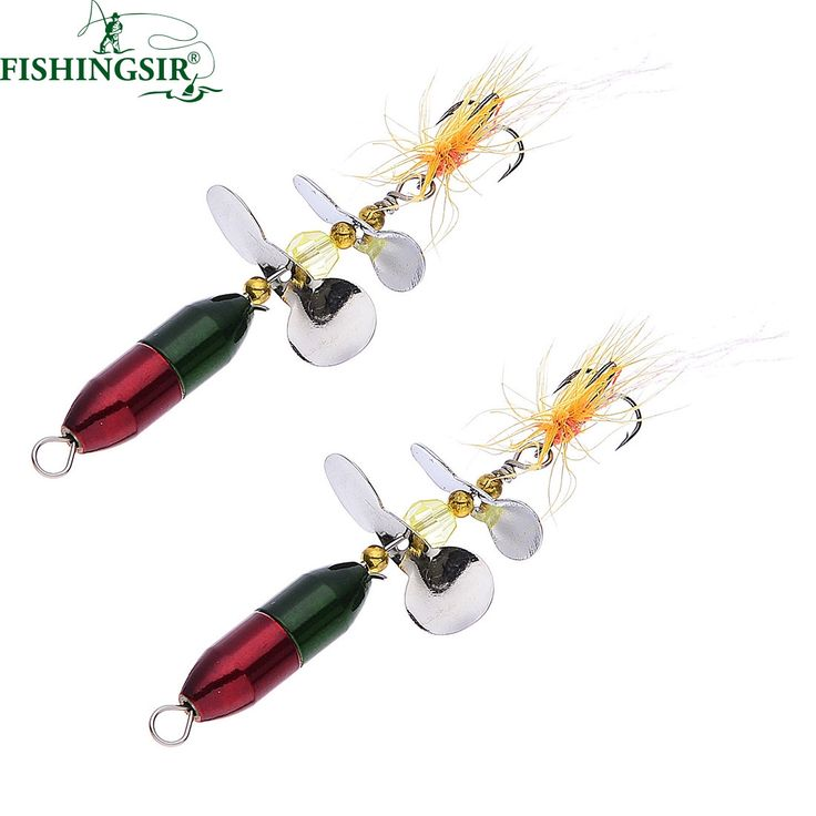 2PCS/ Lot Long Casting Spinner Bait Metal Fishing Lure w/ Double Tail Propeller Trout Carp Catfish Artificial Ice Fishing Lures