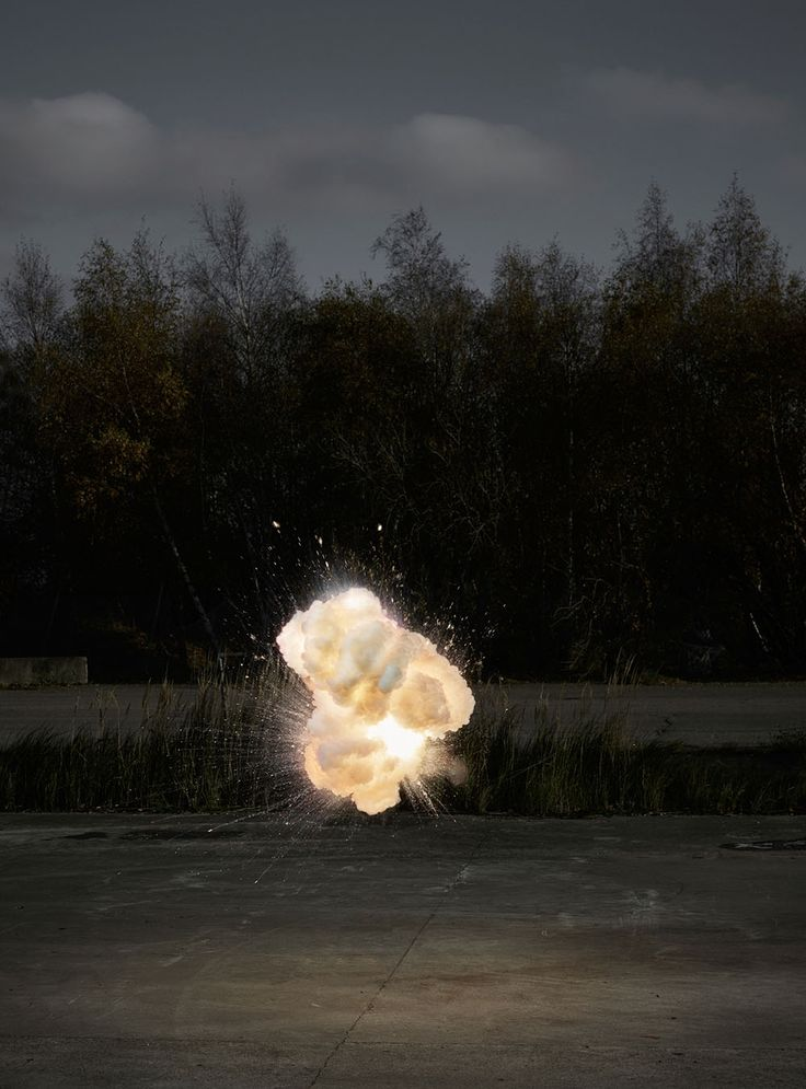 For his latest photographic series Explosion2.0, Copenhagen-based photographer Ken Hermann went big. Partnering with a pyrotechnics expert, he captured this series of suspended explosions illuminated with a strobe light that seem to hover in the air like clouds. Each image is all the more mysterious