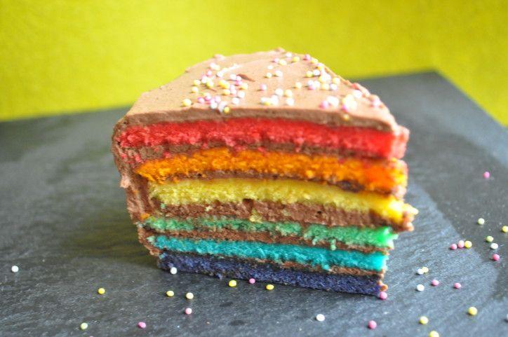 Le gâteau du jour n'est pas à mettre devant tous les yeux, il est joli certes, mais contient quand même pas mal de colorants. Vous avez sûrement déjà vu ce rainbow layer cake sur différents blogs et habituellement ce n'est pas du chocolat qui s'intercale...