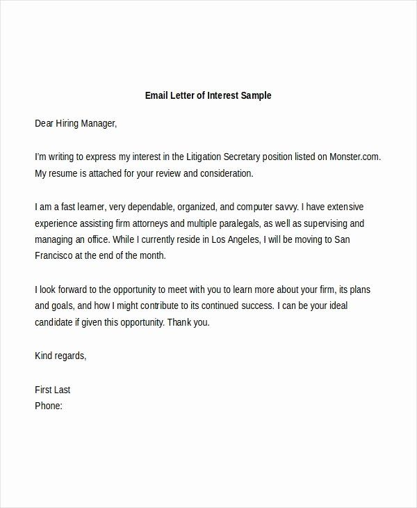 Template Letter Of Interest Luxury Sample Letter Of Interest Form 8 Free Documents Letter Of Interest Template Letter Template Word Cover Letter Template Free