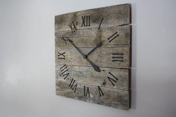 Large Rustic Wall Clock, Reclaimed Gray Pallet Wood CUSTOM.  Natural.  Raw Wood.  Repurposed Wood. on Etsy, $130.00