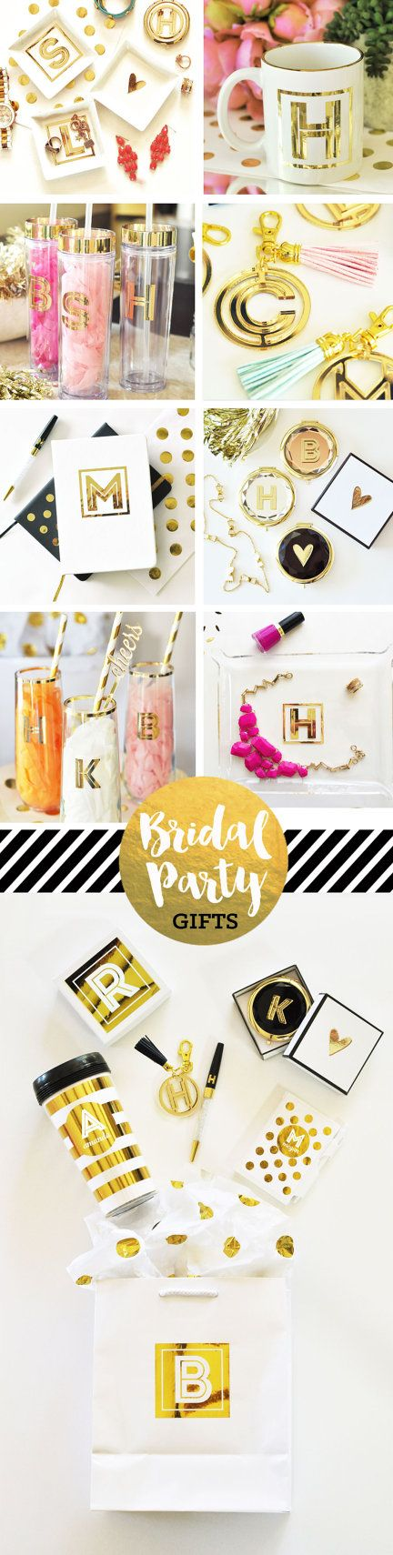 Bridesmaid Gifts for you Bridal Party - Personalized Water Bottles, Keychains, Stemless Wine Glasses, Mirror Compacts, Coffee Mugs, Jewelry Trays, Gift Boxes, Gift Bags - all in metallic gold!  by Mod Party