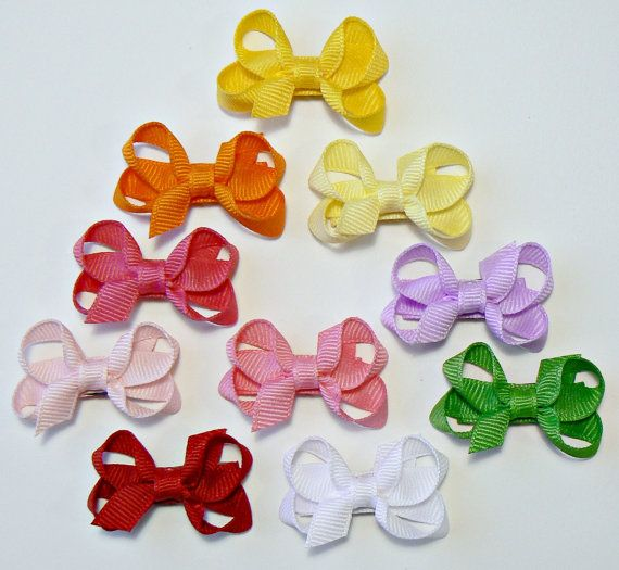 Girls Infant Hair Bow Set Newborn Small Tiny by GenesisArtworks, $12.98