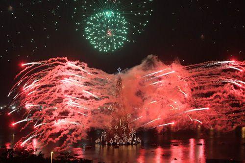 Fireworks explode from a Christmas tree during the lighting ceremony at Rodrigo de Freitas Lake in Rio de Janeiro, Brazil.