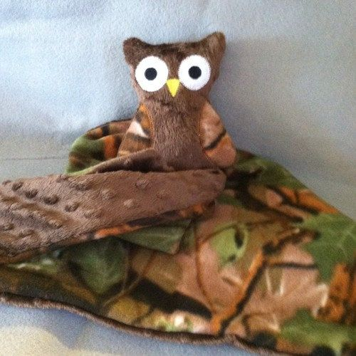 Owl baby blanket with brown minky dot and camo by lottsofcreations, $15.00