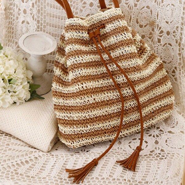 Bolsa De Mão Em Crochet : Top venda de ver?o crochet m?o tecido mulheres palha praia