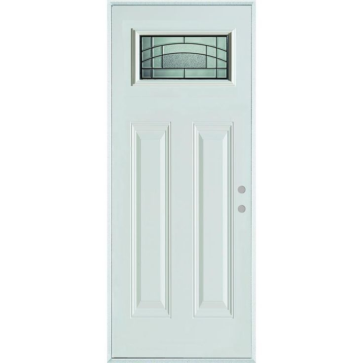 Stanley Doors 36 In X 80 In Chatham Patina Rectangular Lite 2 Panel Painted White Steel