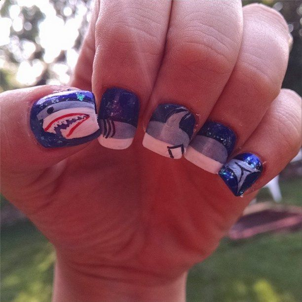 Pin for Later: 10 Terrifyingly Cool Shark Week Nail Art Looks Too Big For One Finger Source: Instagram user sarabella316