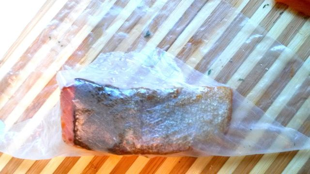 Wrap salmon in a wet rice paper