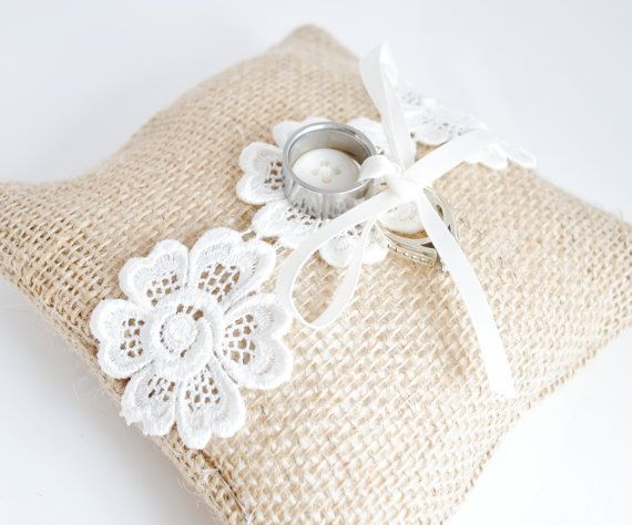 Rustic Ring Bearer Pillow - Burlap Ring Bearer Pillow with Ivory Venice Lace - Burlap Wedding Decorations. $26.00, via Etsy.