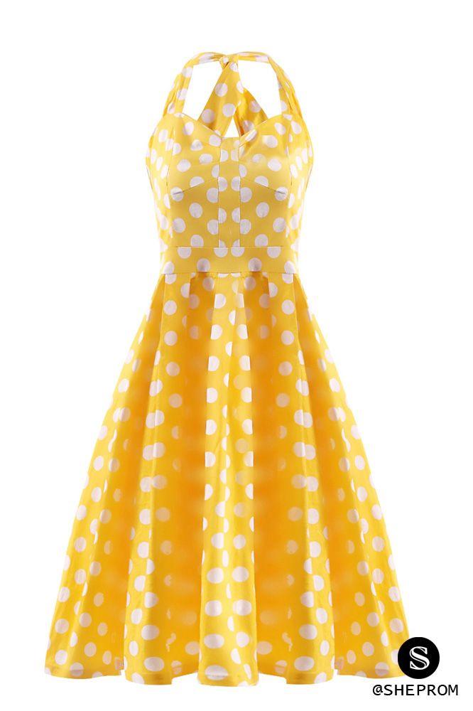 Cute bright yellow polka dot short dress