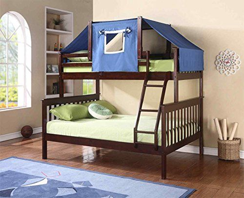 donco kids tent topper kit cappuccino with blue tent twin check out this great - Kids Bed Frame
