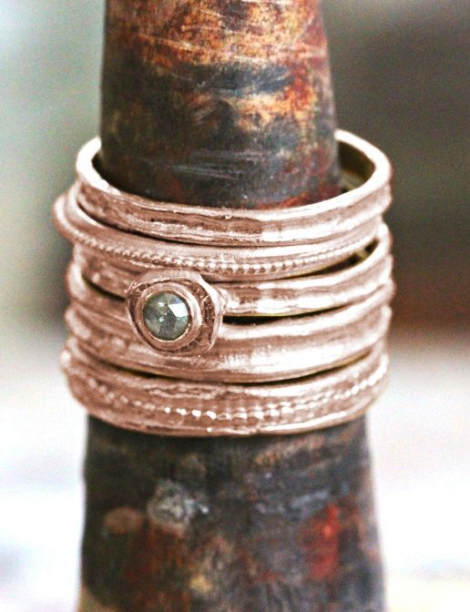 Bridal Ring Set, Rose Gold Diamond Engagement Ring, Boho Gold Jewelry, Stacked Diamond Ring, Alternative Engagement Ring Set, Rustic ring #oritsosner #jewelry #fashion #art #handmade #etsy #gift #style #ring #rings #weddingring #giftforher #gold #18K #marriage #gentle #Engagementring #giftforher #TexturedRing #rosegold #rosegoldring #wavering #UnisexRing #BridalRingSet #DiamondEngagementRing