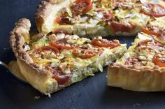 An eggless vegetarian quiche recipe made from egg substitute instead of tofu. Although this quiche is egg-free and vegetarian, it does call for cheddar cheese and milk, so it is not vegan. A simple vegetable quiche without eggs or tofu.