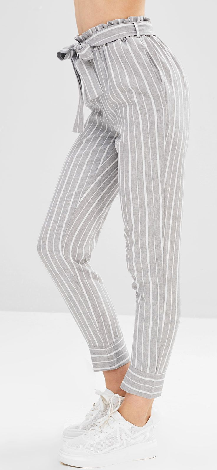 Gray Casual Belted Striped High Waisted Tapered Pants women