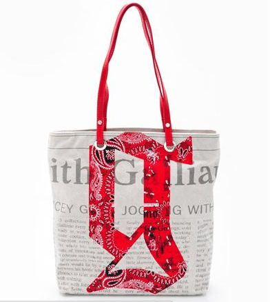 Galliano Newsprint Logo Tote Bag