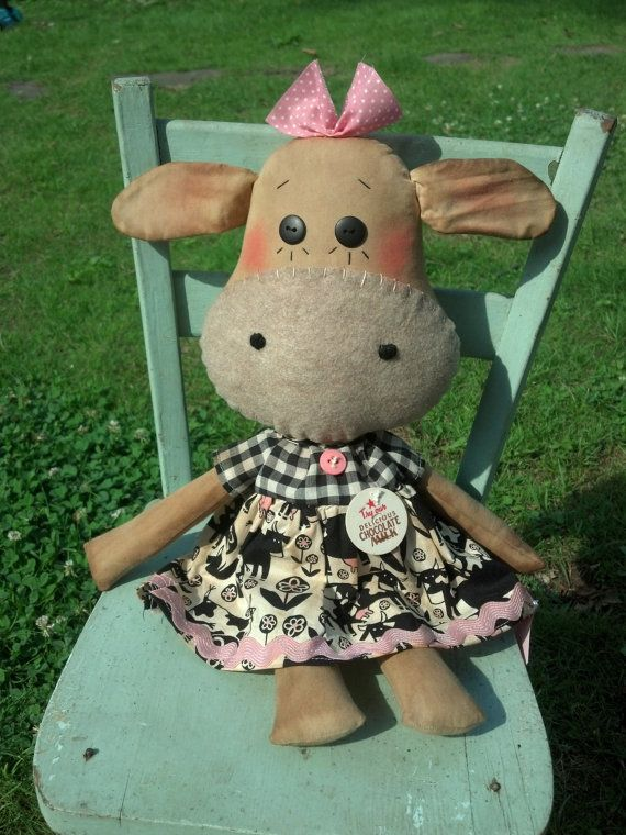 Clarabelle Cow Primitive raggedy cow doll on Etsy, £15.12