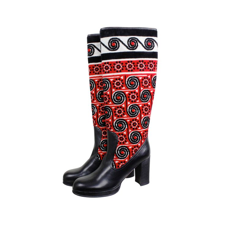 Anna Sui Eastern European Motif High Heeled Leather Boots