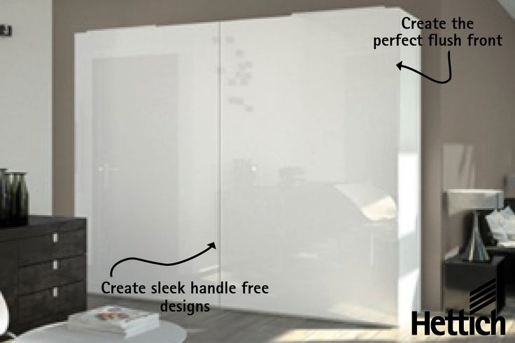 Create handle free flush fronts with the InLine XL Sliding Door System available from Hettich. Click on the pin for inspiration & more information. #slidingdoors #wardrobedesign