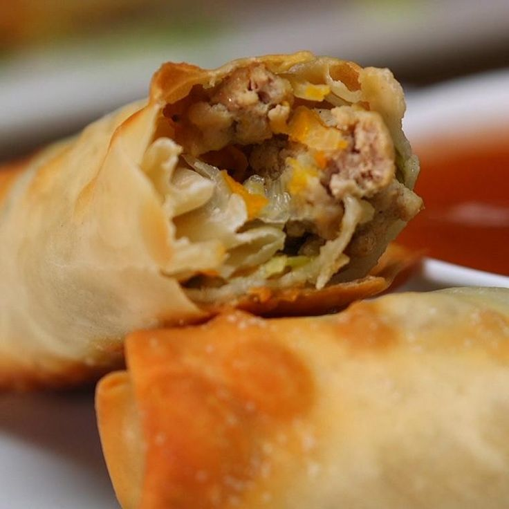 Copycat Takeout Pork and Vegetable Crispy Baked Egg Rolls - Shared Skip pork add onion and extra veg