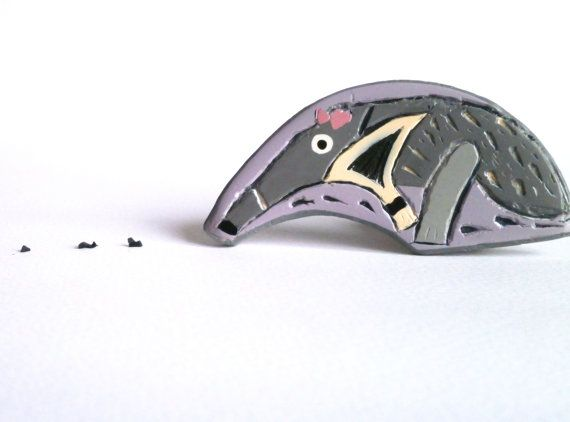 Anteater brooch cute polymer clay animal pale violet grey carved brooch by Lijoux