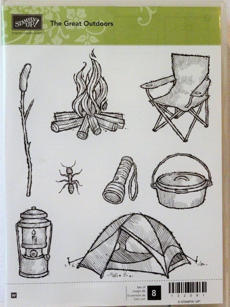 Stampin Up THE GREAT OUTDOORS stamps camping tent chair lantern camp fire