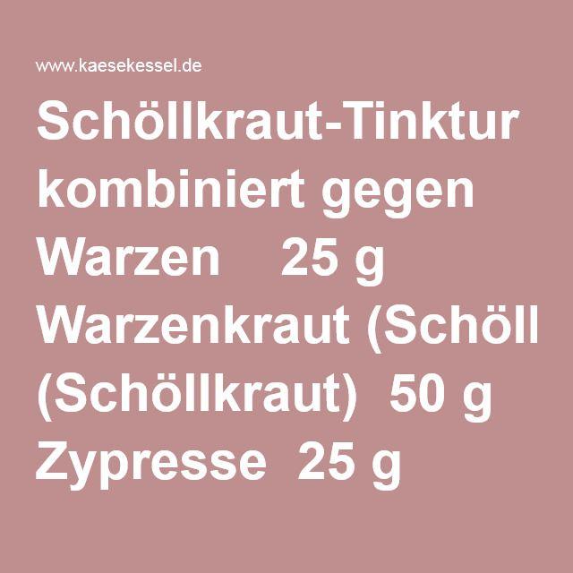 Schöllkraut-Tinktur kombiniert gegen Warzen 25 g Warzenkraut (Schöllkraut) 50 g Zypresse 25 g Hauswurz Alle Mittel mischen, 100g dieser Mischung und 500g Weingeist (68%) setzt man in einem Glas 14 Tage lang an 20°C Wärme, dann filtert man. In diesen Kräutergeist legt man ein Läppchen, näßt es gut an, legt es auf die Warze und dichtet die Warze mit einem Pflaster luftdicht ab. 3 Tage läßt man das Läppchen dort liegen, dann kann die Warze entfernt werden. Mittel gegen Warzen