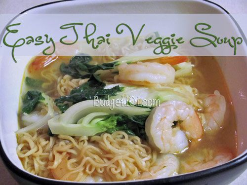 Easy Thai Veggie Soup...I'm using rice noodles instead of Ramen :-)