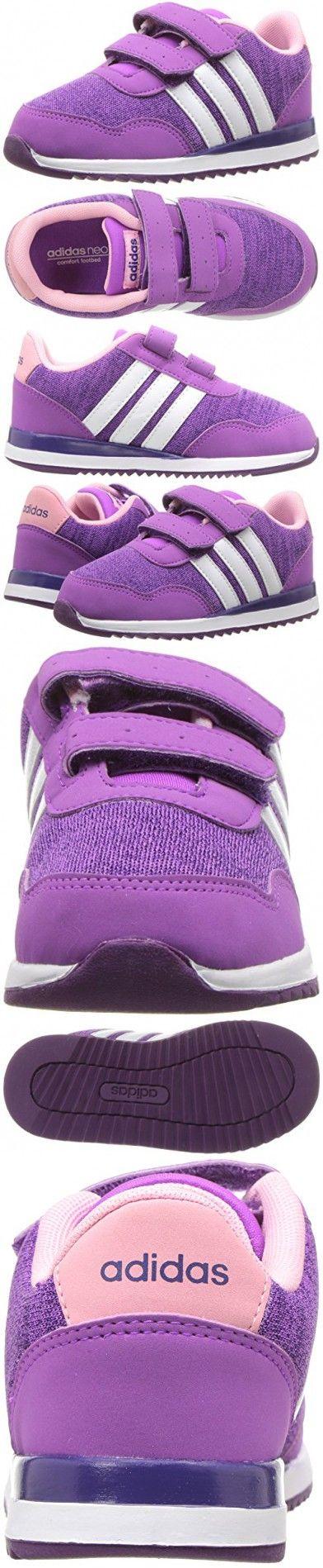Adidas NEO Girls' V Jog Cmf Inf Sneaker, Shock Purple/White/Tribe Purple White, 6 M US Infant