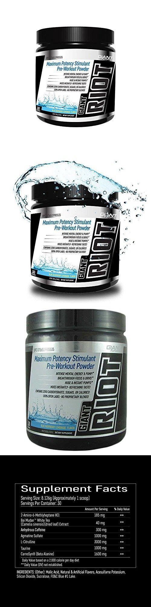 Giant Sports Giant Riot Pre Workout, Supplement Powder,Induces Huge & Instant Pumps, Blue Raspberry Lemonade, 30 Servings