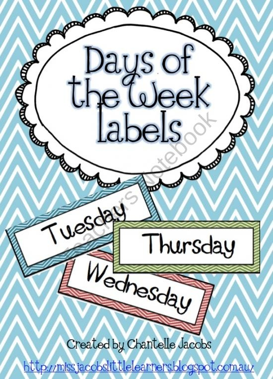 Days of the week (with chevron background) product from Ms-Jacobs-Little-Learners on TeachersNotebook.com