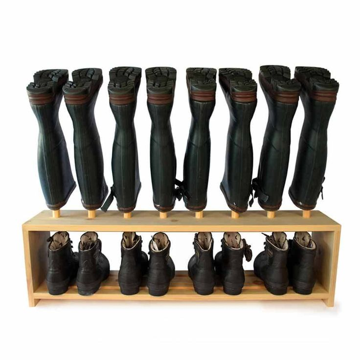 Welly Boot and Shoe Rack - welly rack above, shoe shelf below. Wooden footwear storage rack holds 4 pairs of welly boots and shoes. Handmade in solid Pine