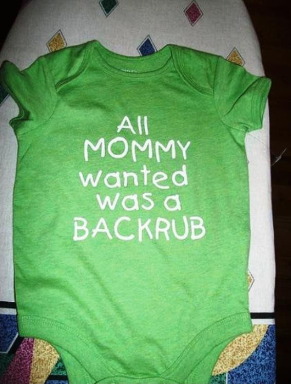 Haha, so funny! Too cute!  I'd take my baby boy over a back rub any day though!
