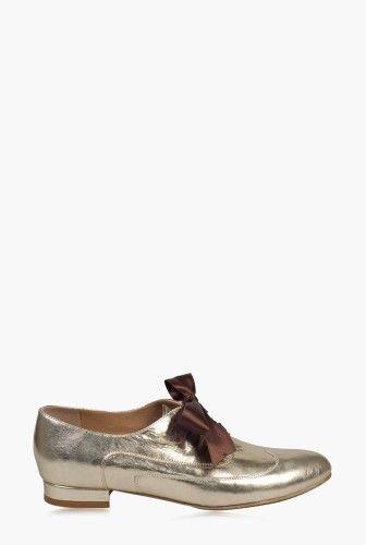 Pantofi oxford aurii din piele naturala model P7N -  Ama Fashion