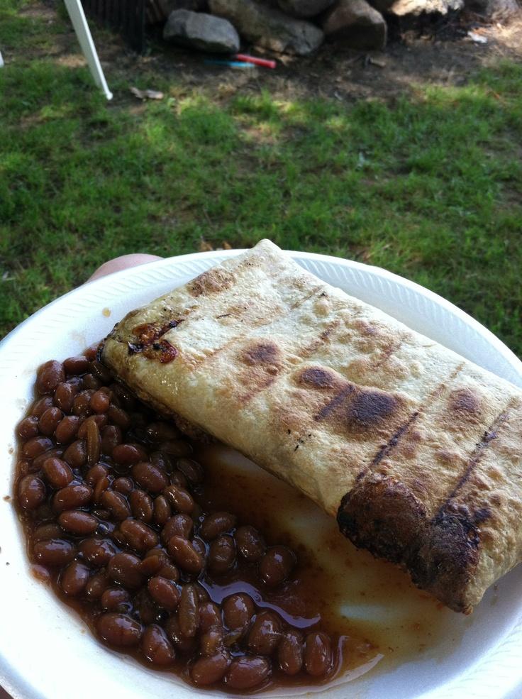 Camp mountain pie maker breakfast burritto