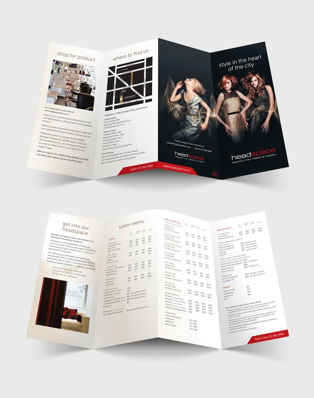 Headspace hair salon 4 panel brochure graphic design by Robertson Creative, Christchurch, New Zealand.