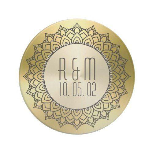 Black Circle Mandala & Metallic Gold Sandstone Coaster
