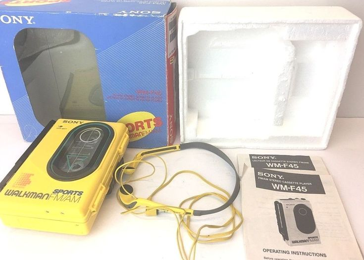 Sony WM-F45 Sports Walkman Rare 80s FM/AM Cassette Player Complete in Box Yellow #Sony