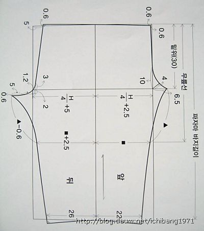 ※재단시 시접주기-윗옷:옆선1.5cm,요크선1.5cm,소매통3.5cm칼라시접1cm,목둘레1cm,소매둘레 1.5cm,진동둘레1.5cm 아래옷:밑아래선1.5cm,밑단3.5cm,밑위선1.5cm,허리선4cm 만들기-(윗옷)①몸판에 주머니를 단다. ②어깨