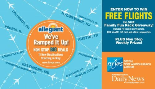 Win 4 Round Trip Allegiant travel vouchers out of VPS airport... IFTTT reddit giveaways freebies contests